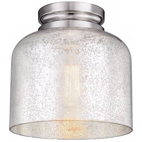 "Feiss Hounslow 9"" High Nickel and Plated Glass Ceiling Light"
