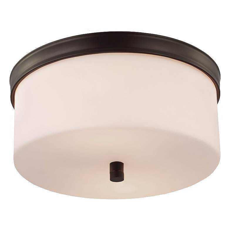 """Feiss Lismore 13 1/4"""" Wide Rubbed Bronze Ceiling Light"""