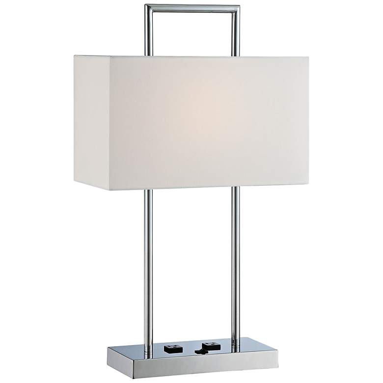 Lite Source Jaymes Chrome Desk Lamp with Outlets