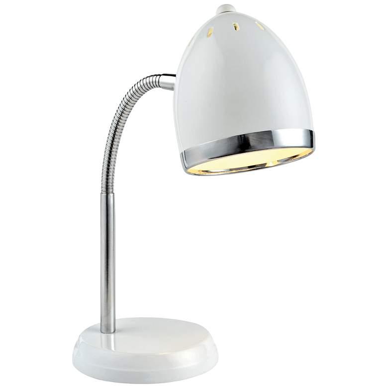 Lite Source Zachary White and Chrome Gooseneck Desk Lamp