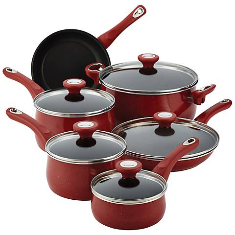 Farberware New Traditions 14-Piece Red Cookware Set
