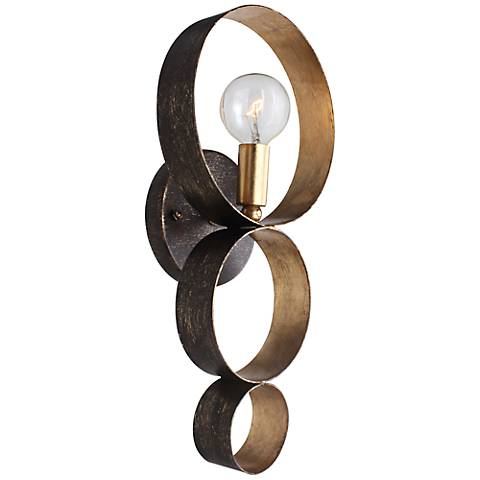 "Crystorama Luna 14 3/4"" High Bronze and Gold Sconce"