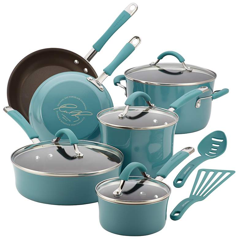 Rachael Ray Cucina 12-Piece Agave Blue Cookware Set