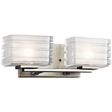 "Kichler Bazely 15"" Wide High Mitered Glass Bath Light"