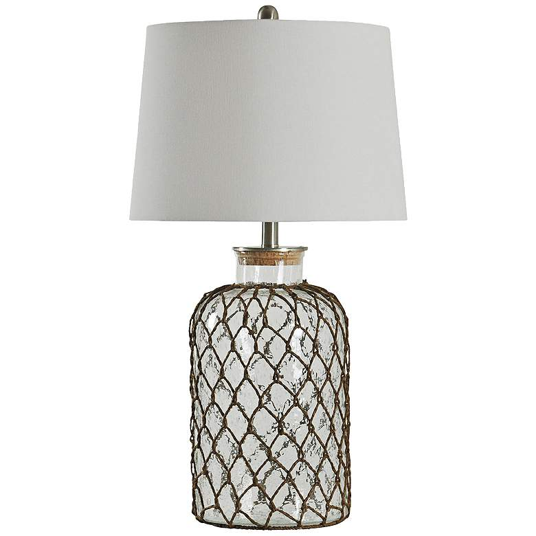 Seeded Glass Table Lamp with Netting Accent