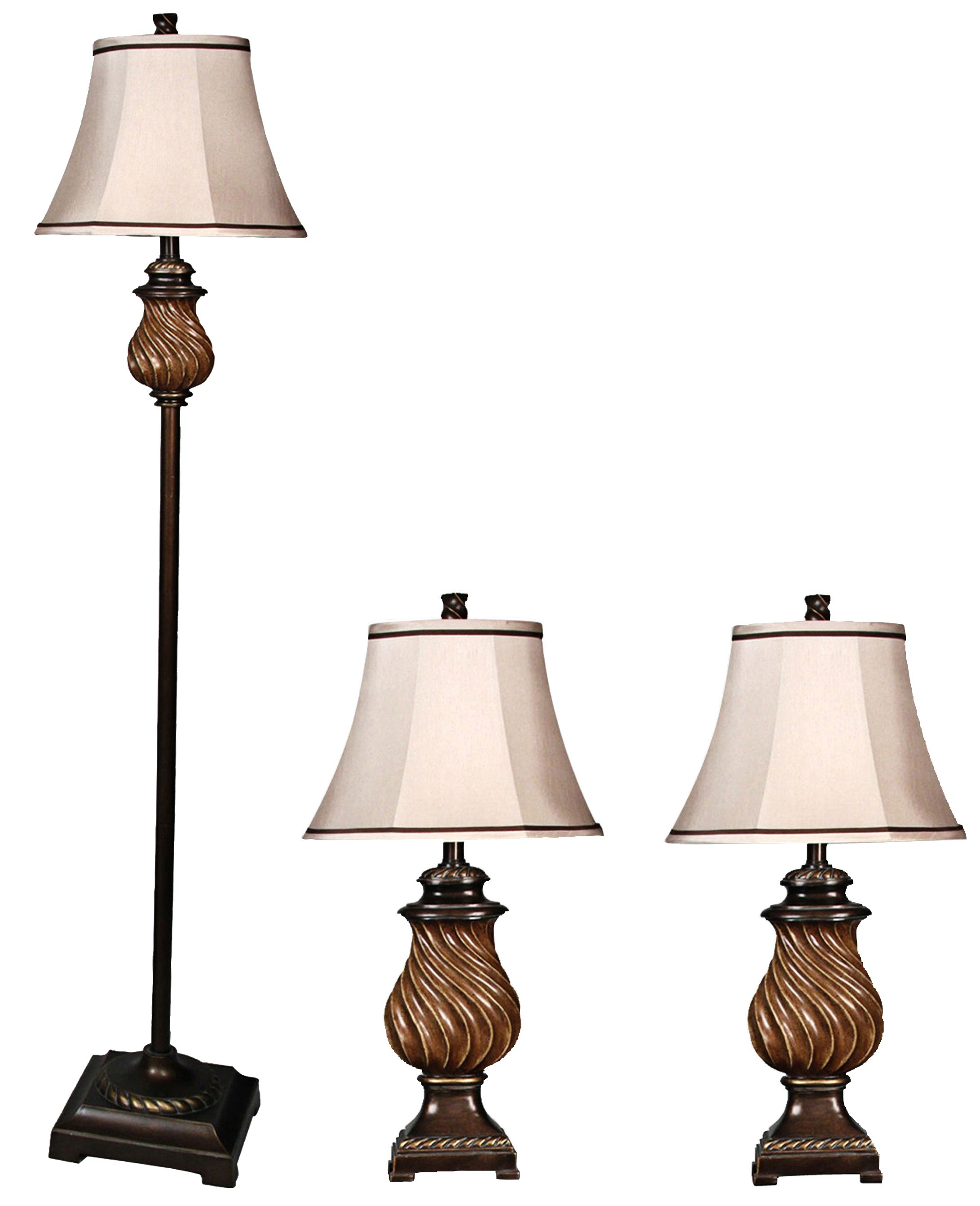 Delightful Toffee Wood 3 Piece Table Lamps And Floor Lamp Set