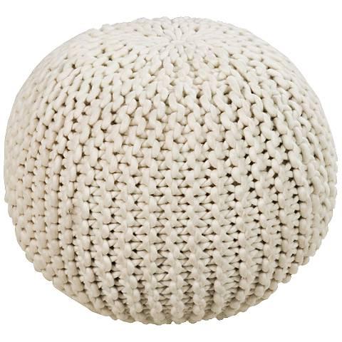 Surya Knit Sesame Wool Round Pouf Ottoman