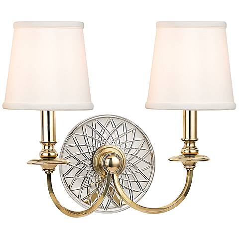 "Yates 14"" High 2-Light Aged Brass Wall Sconce"