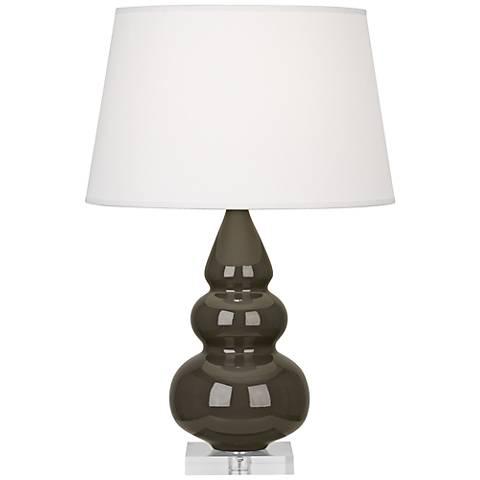 Robert Abbey Brown Tea Triple Gourd Ceramic Table Lamp