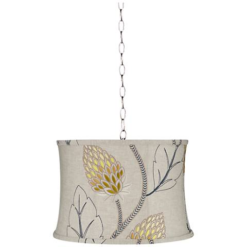 "Beige with Gold Thistle 16""W Brushed Steel Shaded Pendant"