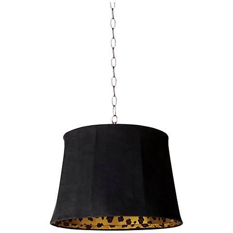 "Black Faux Suede 16"" Wide Brushed Steel Shaded Pendant"