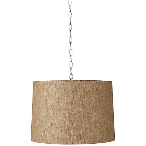 "Tan Woven 16"" Wide Brushed Steel Shaded Pendant"