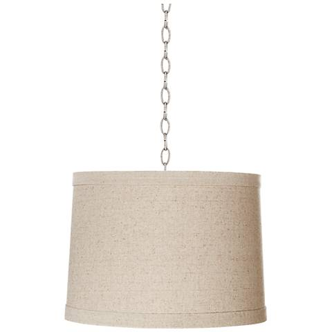 "Natural Linen 14"" Wide Brushed Steel Shaded Pendant"
