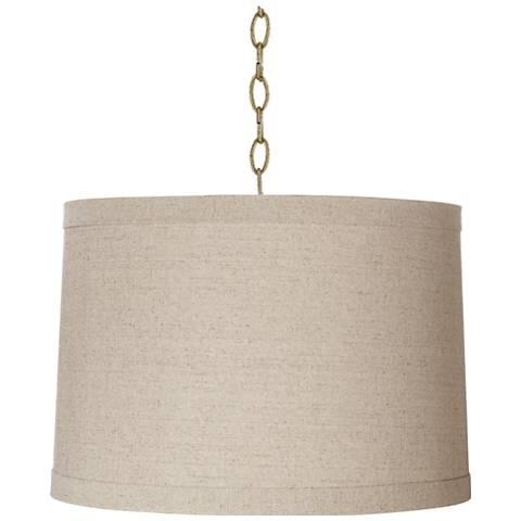"Linen Drum 16"" Wide Antique Brass Shaded Pendant Light"