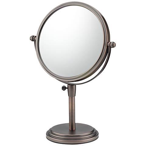 "Aptations Classic 7 3/4"" Wide Italian Bronze Makeup Mirror"