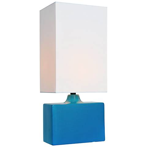 "Lite Source 17 1/2""H Kara Aqua Ceramic Accent Table Lamp"