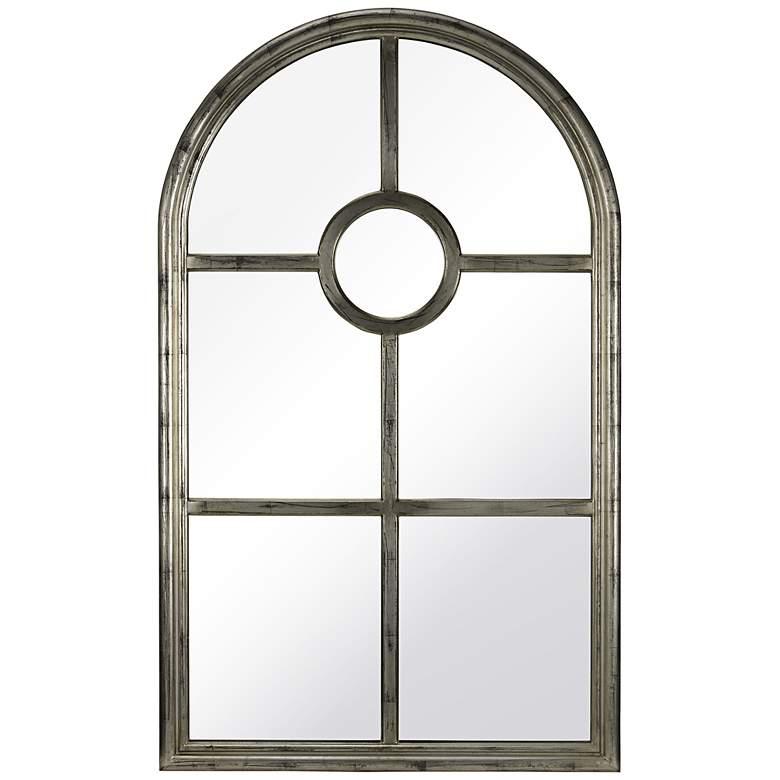 """Chenab Aged Silver 31 1/2"""" x 52"""" Arch Top Wall Mirror"""