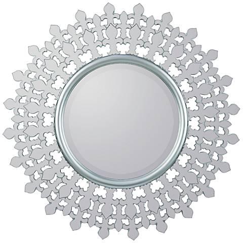 "Cooper Classics Feye Silver 35"" Round Wall Mirror"