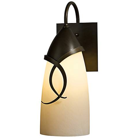 "Hubbardton Forge Flora 14 1/2"" High Bronze Outdoor Wall Light"