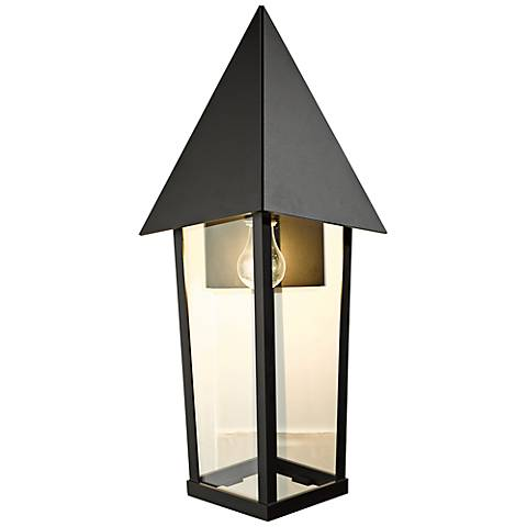 "Hubbardton Forge Elton 26"" High Black Outdoor Wall Light"