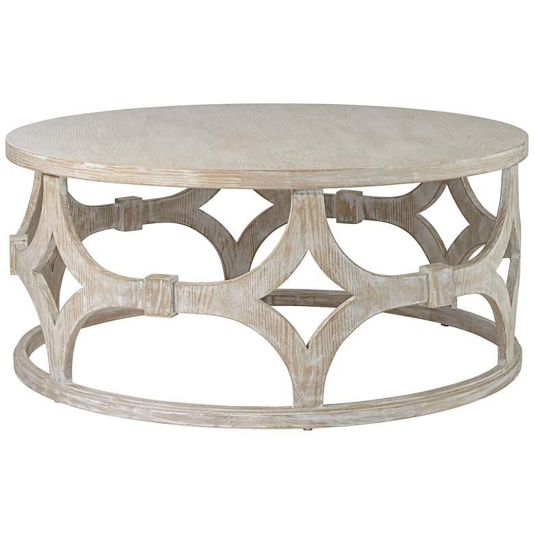 """Lanini 39 1/4"""" Wide Whitewash Coffee Table"""