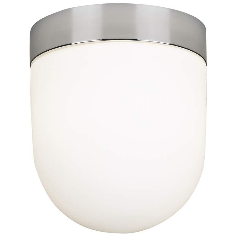 """Fraley 7 1/2"""" Wide Polished Nickel White Glass Ceiling Light"""