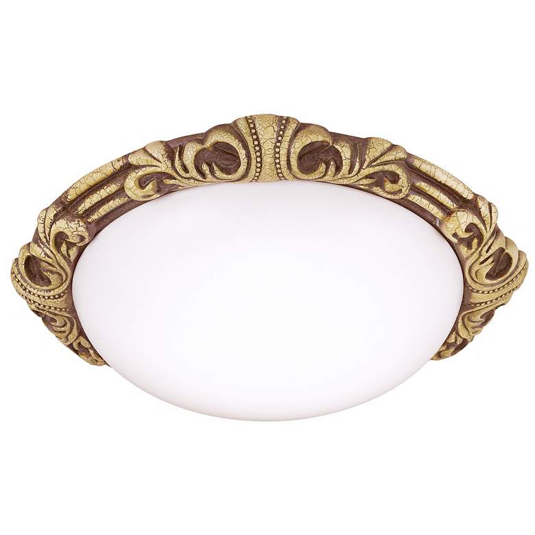 """Baroque 15 1/2"""" Wide Gold Crackle Round Ceiling Light"""