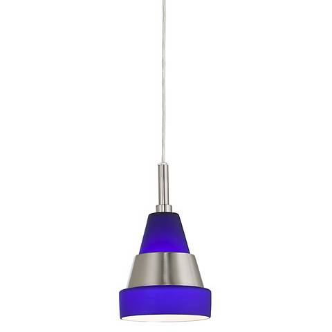"Frosted Blue Glass 5"" Wide Modern Mini Pendant"
