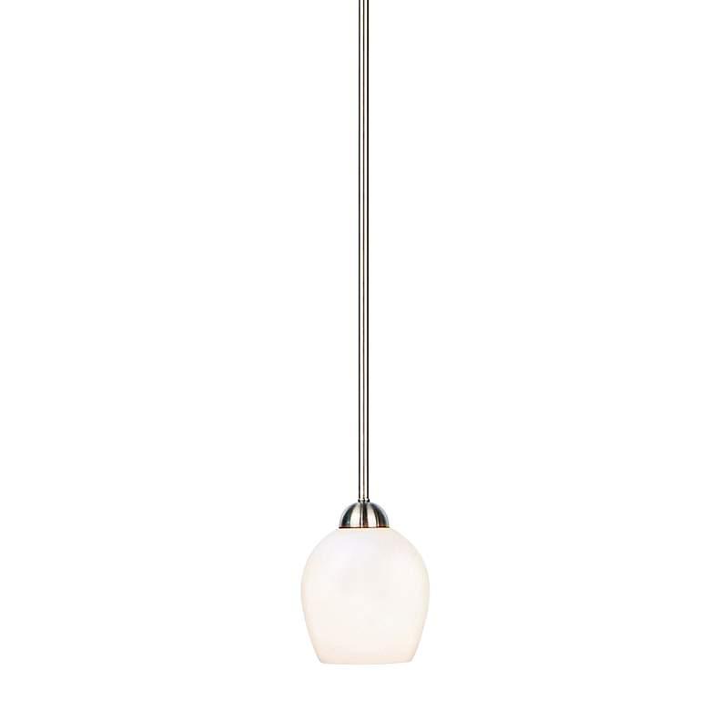"Sema 5"" Wide Brushed Nickel White Glass Mini Pendant Light"