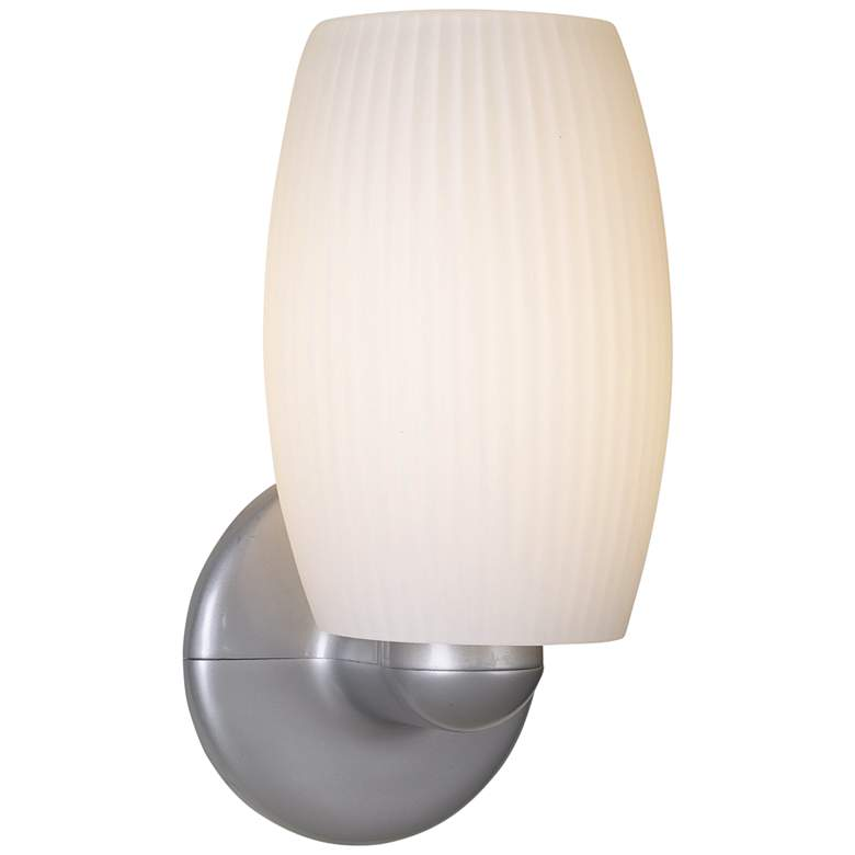 """Terrickson 9"""" High White Ribbed Glass Wall Sconce"""