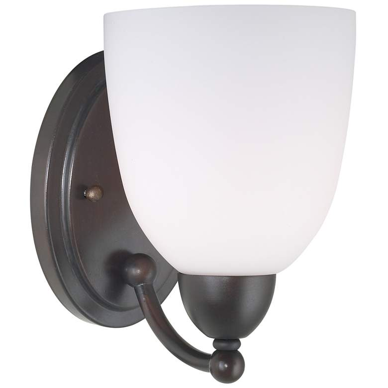 "Gretna 8 1/2"" High Roman Bronze and White Glass Wall Sconce"