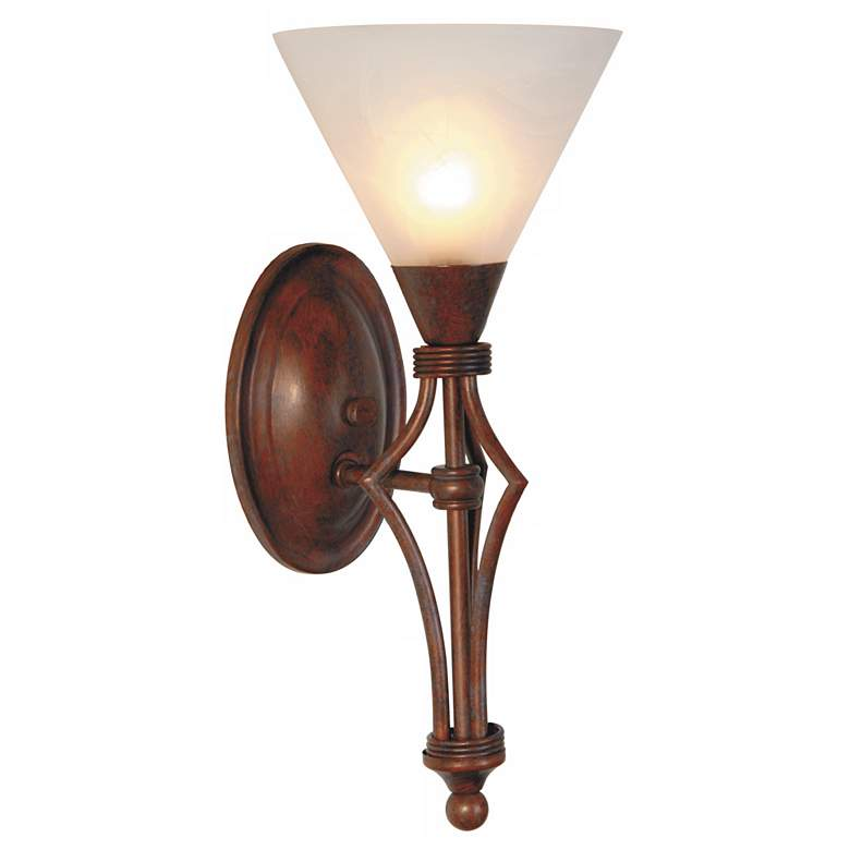 """Rustic 15"""" High Burnished Bronze Wall Sconce"""