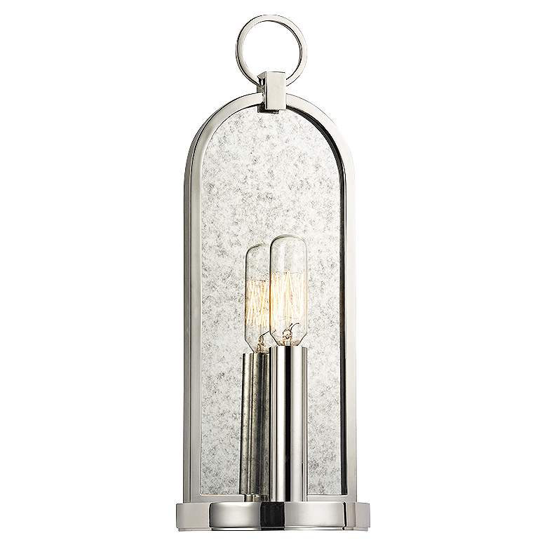 "Hudson Valley Lowell 13 3/4"" High Polished Nickel Sconce"