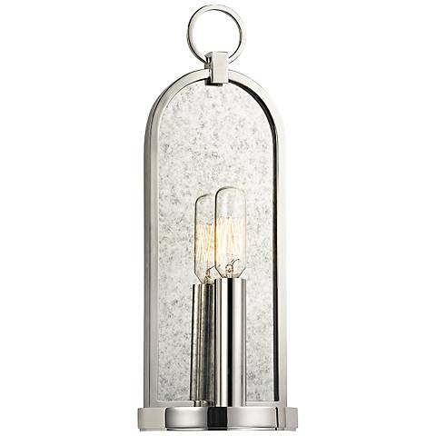 """Hudson Valley Lowell 13 3/4"""" High Polished Nickel Sconce"""