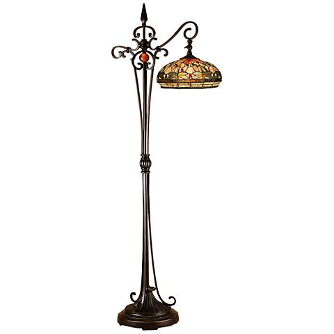 Dale Tiffany Briar Dragonfly Glass Downbridge Floor Lamp