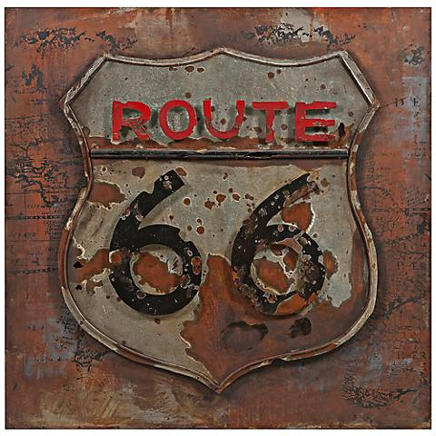 """Route 66 31 1/2"""" Square Dimensional Metal Wall Art"""