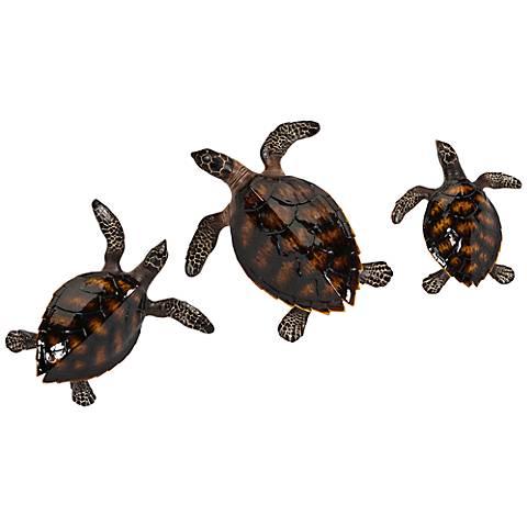 "Swanson 15 1/4"" High Sea Turtle Wall Art Set of 3"