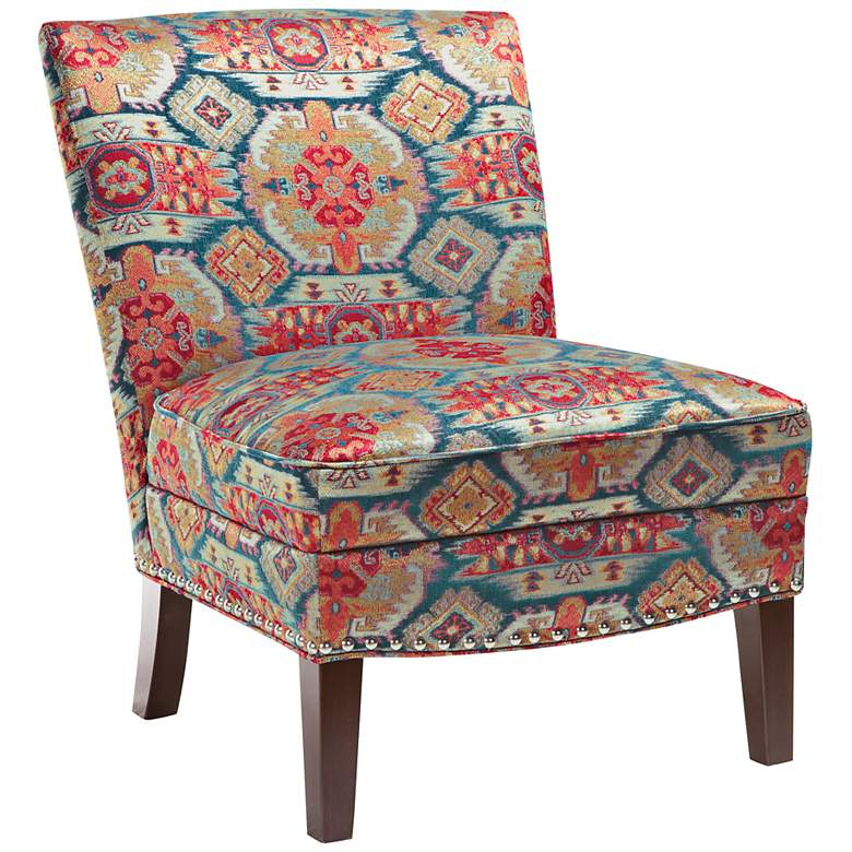 Alex Colorful Bali Pattern Slipper Accent Chair