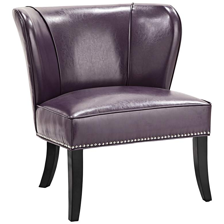 Sheldon Purple Faux Leather Wingback Armless Accent Chair