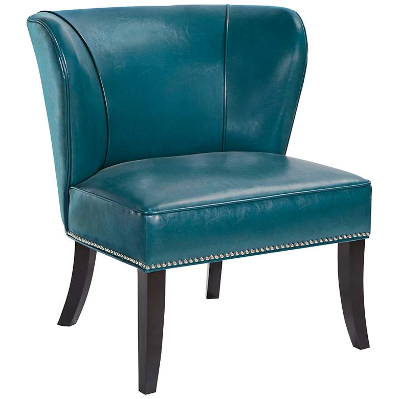 Sheldon Peacock Blue Concave Armless Accent Chair