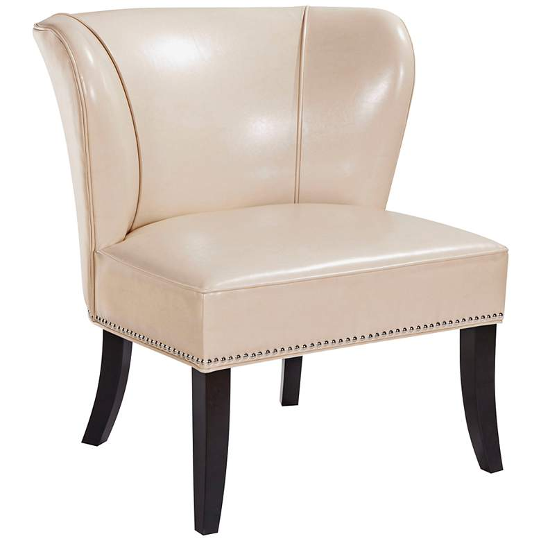 Sheldon Ivory Faux Leather Wingback Armless Accent Chair