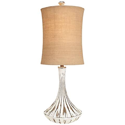 Normandie Distressed White and Burlap Table Lamp