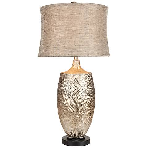 Ari Hammered Silvertone Table Lamp