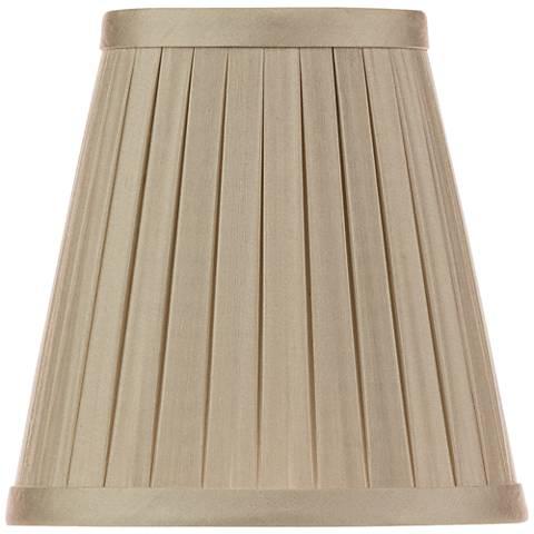 Beige Box Pleat Chandelier Silk Shade 3x5x5 (Clip-On)