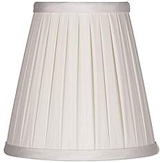 Clip on chandelier pleated lamp shades lamps plus off white box pleat chandelier silk shade 3x5x5 clip on mozeypictures Choice Image