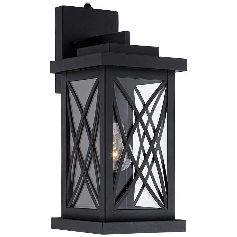 "Woodland Park 15""H Black Finish Dusk to Dawn Outdoor Light"