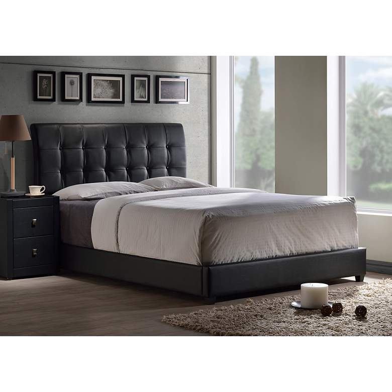 Hillsdale Lusso Black Faux Leather Queen Bed