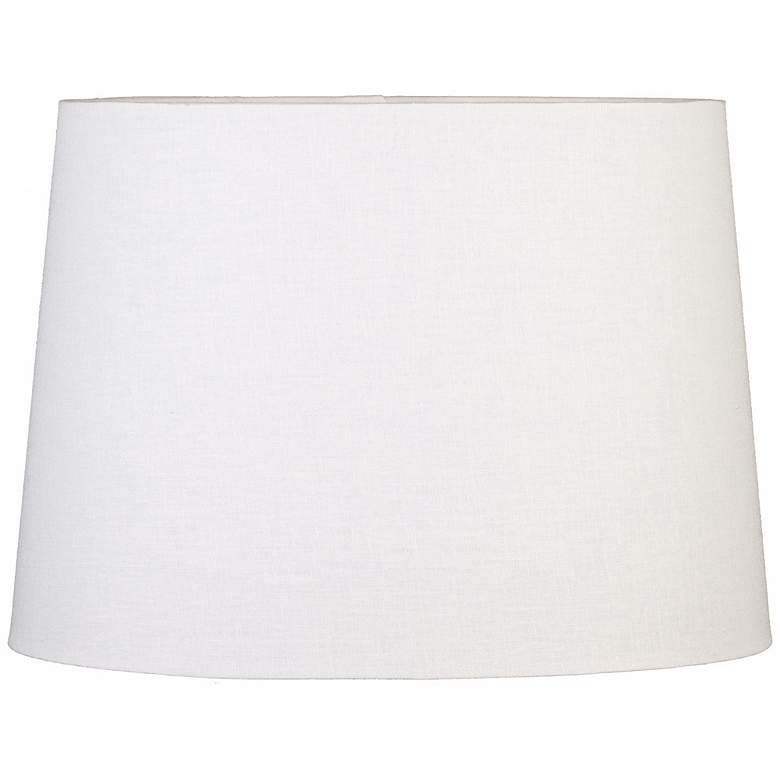 Off-White Oval Hardback Linen Shade 16/12x18/14x12 (Spider)