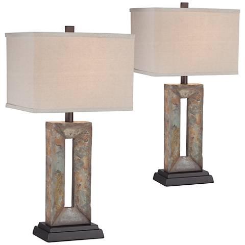 Tahoe Small Rectangular Slate Table Lamp Set of 2