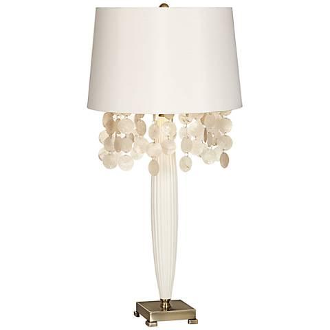 Possini Euro Design Audra Capiz Spray White Table Lamp